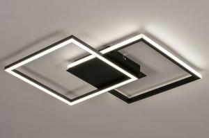 plafondlamp 74227 design modern kunststof metaal zwart mat wit vierkant