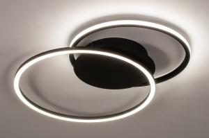 plafondlamp 74228 design modern kunststof metaal zwart mat wit rond