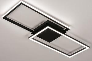 plafondlamp 74229 design modern kunststof metaal zwart mat wit rechthoekig
