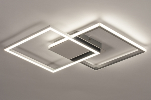 plafondlamp 74230 design modern aluminium kunststof metaal wit zilver chroom vierkant
