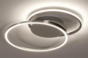 plafondlamp 74231 design modern aluminium kunststof metaal wit zilvergrijs chroom rond