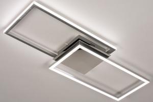 plafondlamp 74232 design modern aluminium kunststof metaal wit zilvergrijs chroom langwerpig