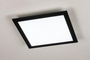 plafondlamp 74236 modern kunststof metaal zwart mat wit mat vierkant