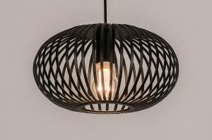 hanglamp 74243 modern retro metaal zwart mat rond