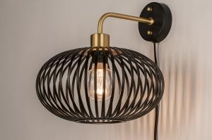 wandlamp 74247 landelijk rustiek modern retro klassiek messing metaal zwart mat messing rond