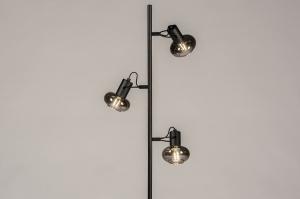 vloerlamp 74249 modern retro eigentijds klassiek art deco glas metaal zwart mat grijs rond