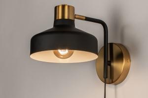 wandlamp 74252 industrie look modern eigentijds klassiek metaal zwart mat goud messing rond