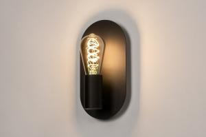 wandlamp 74255 landelijk rustiek modern eigentijds klassiek metaal zwart mat ovaal