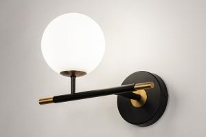 wandlamp 74257 modern retro eigentijds klassiek glas wit opaalglas metaal zwart mat goud messing