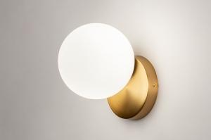 wandlamp 74258 modern eigentijds klassiek art deco glas wit opaalglas messing metaal goud messing rond