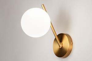 wandlamp 74259 modern klassiek eigentijds klassiek art deco glas wit opaalglas messing metaal goud messing rond