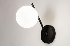 wandlamp 74260 modern klassiek eigentijds klassiek glas wit opaalglas metaal zwart mat rond