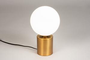 tafellamp 74261 modern klassiek eigentijds klassiek art deco glas wit opaalglas metaal wit mat goud rond