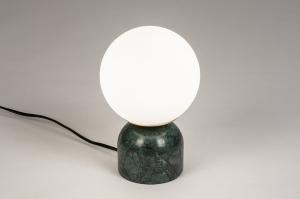 tafellamp 74262 landelijk rustiek retro klassiek eigentijds klassiek art deco glas wit opaalglas marmer wit mat groen rond