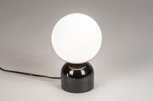 tafellamp 74263 landelijk rustiek retro klassiek eigentijds klassiek art deco glas wit opaalglas marmer zwart wit mat rond