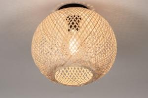 plafondlamp 74264 landelijk rustiek modern retro riet naturel rond