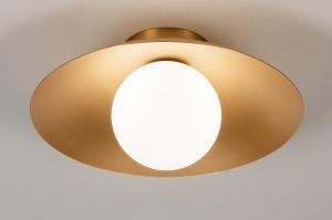 plafondlamp 74265 design modern klassiek eigentijds klassiek art deco glas wit opaalglas metaal goud messing rond