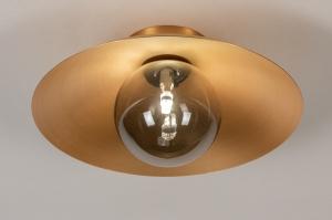 plafondlamp 74266 design landelijk rustiek modern klassiek eigentijds klassiek art deco glas metaal goud rond