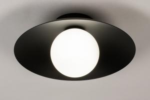 plafondlamp 74267 design landelijk rustiek modern klassiek eigentijds klassiek art deco glas wit opaalglas metaal zwart mat rond