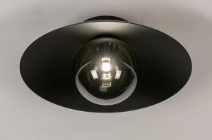 plafondlamp 74268 design landelijk rustiek modern klassiek eigentijds klassiek art deco glas metaal zwart mat rond