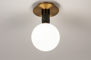 plafondlamp 74269 landelijk rustiek modern klassiek eigentijds klassiek art deco glas wit opaalglas messing geschuurd marmer zwart messing