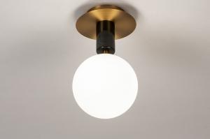 plafondlamp 74269 modern klassiek eigentijds klassiek art deco glas wit opaalglas messing geschuurd marmer zwart messing