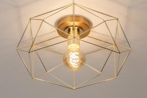 plafondlamp 74270 modern eigentijds klassiek metaal goud messing rond