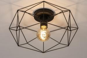 plafondlamp 74271 landelijk rustiek modern eigentijds klassiek metaal zwart mat