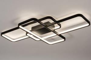 plafondlamp 74278 design modern kunststof metaal zwart mat rechthoekig