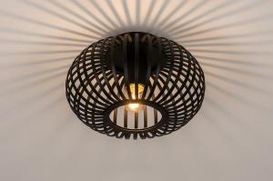 plafondlamp 74281 modern retro metaal zwart mat rond