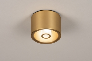 plafondlamp 74282 design modern klassiek eigentijds klassiek art deco messing geschuurd aluminium metaal goud messing rond