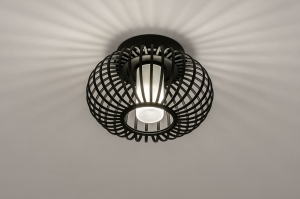 plafondlamp 74283 modern retro glas wit opaalglas metaal zwart mat rond
