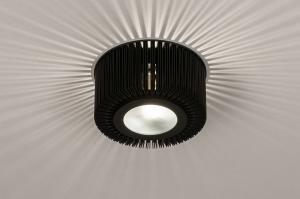 plafondlamp 74284 industrie look design modern eigentijds klassiek metaal zwart mat rond