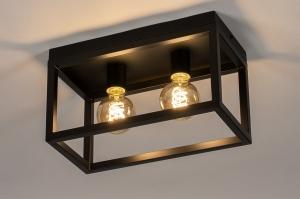 plafondlamp 74287 industrie look landelijk rustiek modern stoer raw metaal zwart mat rechthoekig