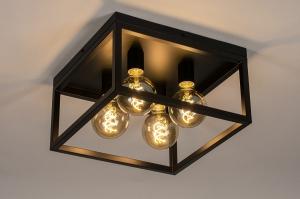 plafondlamp 74288 industrie look landelijk rustiek modern stoer raw eigentijds klassiek metaal zwart mat vierkant