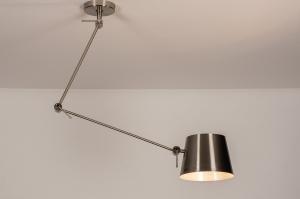hanglamp 74290 industrie look landelijk rustiek modern staal rvs metaal staalgrijs rond