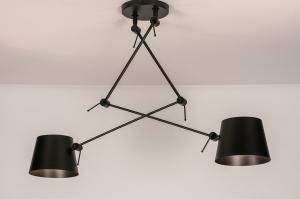 hanglamp 74291 landelijk rustiek modern stoere lampen eigentijds klassiek metaal zwart mat