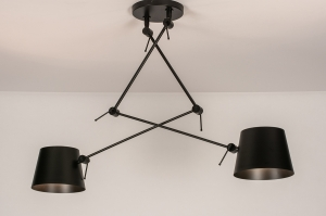 hanglamp 74291 industrie look modern stoere lampen metaal zwart mat rond
