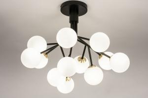 plafondlamp 74294 design landelijk rustiek modern retro klassiek eigentijds klassiek art deco glas wit opaalglas messing metaal zwart mat wit mat mess