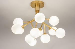 plafondlamp 74295 design landelijk rustiek modern retro klassiek eigentijds klassiek art deco glas wit opaalglas messing metaal wit mat goud messing