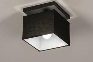 plafondlamp 74299 landelijk rustiek modern eigentijds klassiek stof metaal zwart mat vierkant