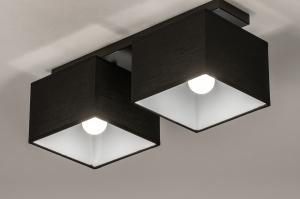 plafondlamp 74300 landelijk rustiek modern eigentijds klassiek stof metaal zwart mat langwerpig