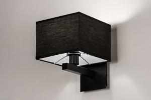 wandlamp 74301 modern eigentijds klassiek stof metaal zwart mat vierkant
