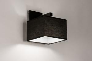 Wandleuchte 74301 modern zeitgemaess klassisch Stoff Metall schwarz matt viereckig