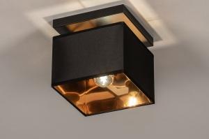 plafondlamp 74303 landelijk rustiek modern eigentijds klassiek stof metaal zwart mat goud vierkant
