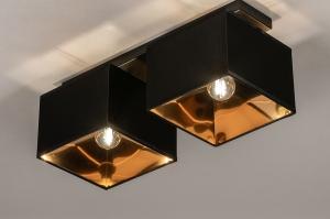 plafondlamp 74304 landelijk rustiek modern eigentijds klassiek stof metaal zwart mat goud langwerpig