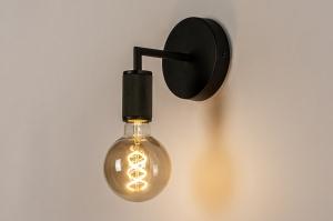 wandlamp 74314 industrie look modern staal rvs aluminium metaal zwart mat rond
