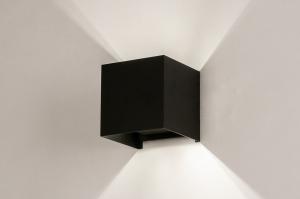 wandlamp 74316 industrie look modern aluminium metaal zwart mat vierkant