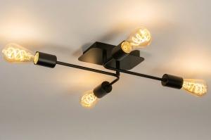 plafondlamp 74319 industrie look modern art deco metaal zwart mat langwerpig rechthoekig
