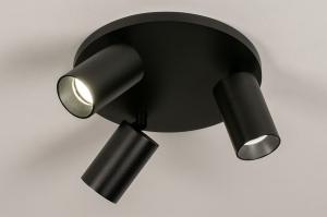 spot 74322 design modern aluminium metaal zwart mat rond